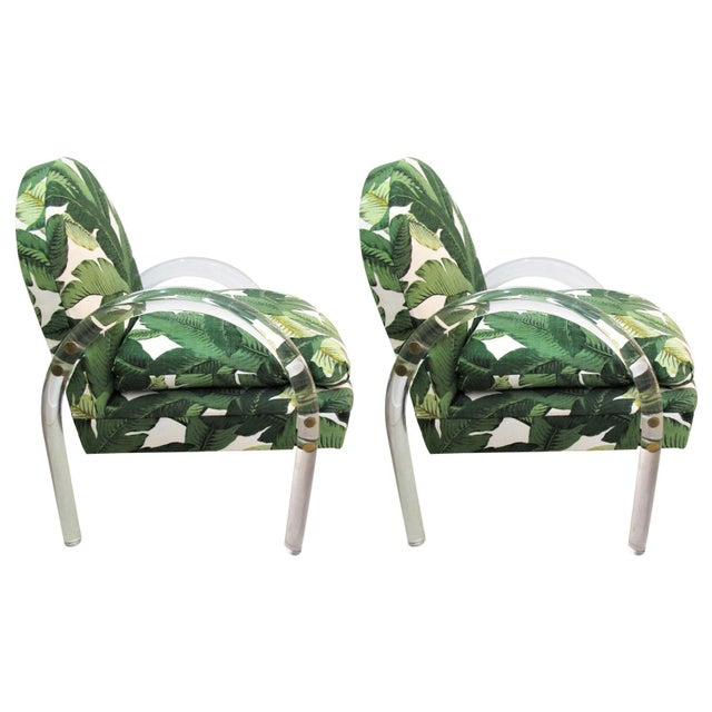 Pair of Vintage Lucite Armchairs by Lion in Frost With Banana Leaf Upholstery For Sale - Image 10 of 10