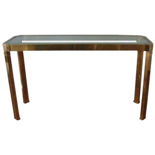 Mastercraft Brass and Glass Console For Sale