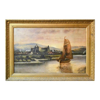19th Century English Oil Painting of a Boat and Village For Sale