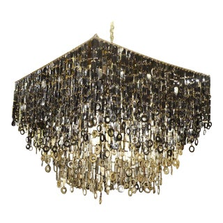"""Dira Collection African Ngui Cow Horn 50"""" Square Cascading Chandelier For Sale"""
