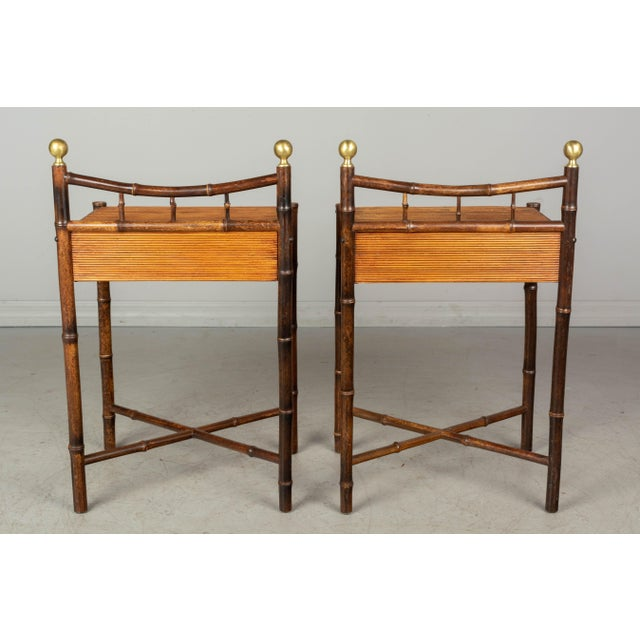 Mid-Century Modern French Mid-Century Bamboo & Rattan Side Tables, a Pair For Sale - Image 3 of 8