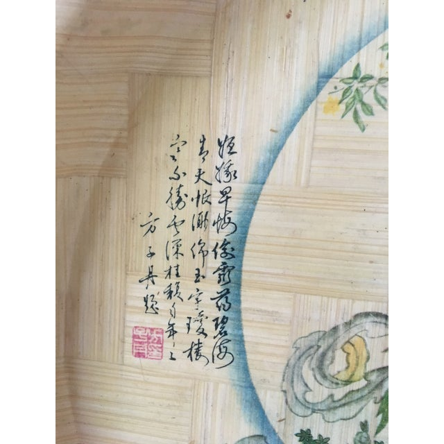 1960s Vintage Hand Painted Bamboo Drink Tray For Sale - Image 6 of 10