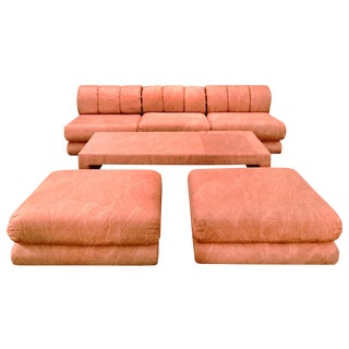 6 Piece Sectional Sofa Set in Original Coral Frond Pattern Fabric For Sale