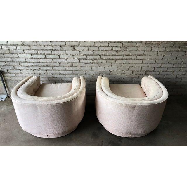 Milo Baughman Vintage Mid-Century Milo Baughman Style Tufted Barrel Chairs - A Pair For Sale - Image 4 of 10