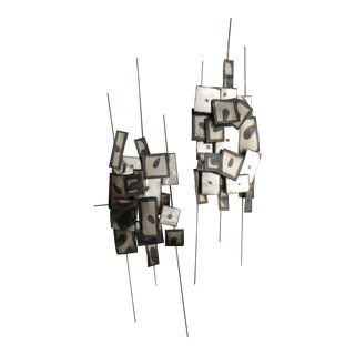 Vintage Brutalist Metal Wall Sculptures - a Pair For Sale