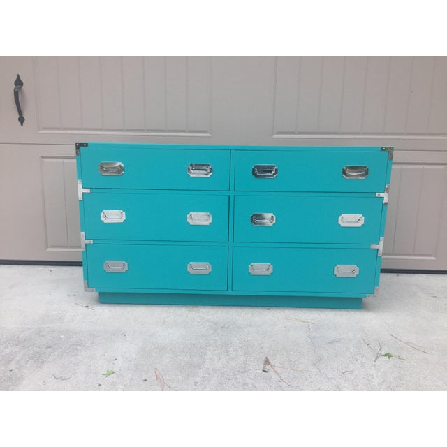 Vintage Dixie Turquoise Painted Campaign Dresser For Sale - Image 9 of 10