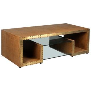 Sarried Ltd Tan Leather Shagreen Greek Key Table