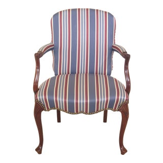 1990s Vintage Hickory Chair Co. Queen Anne Mahogany Upholstered Arm Chair For Sale