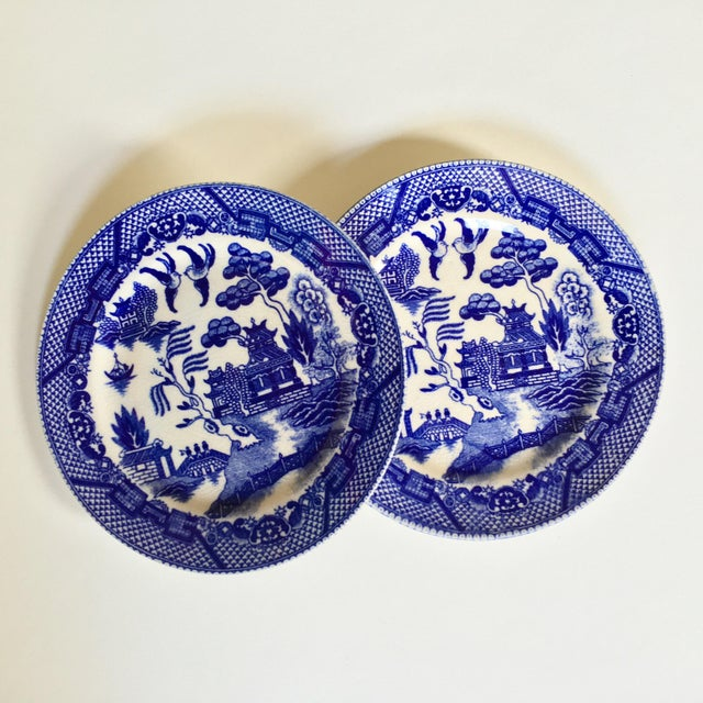 "Antique ""Blue Willow"" Pattern Plates - A Pair For Sale - Image 5 of 6"
