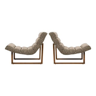 Pair of Mid Century Modern Scoop Lounge Chairs by Milo Baughman For Sale