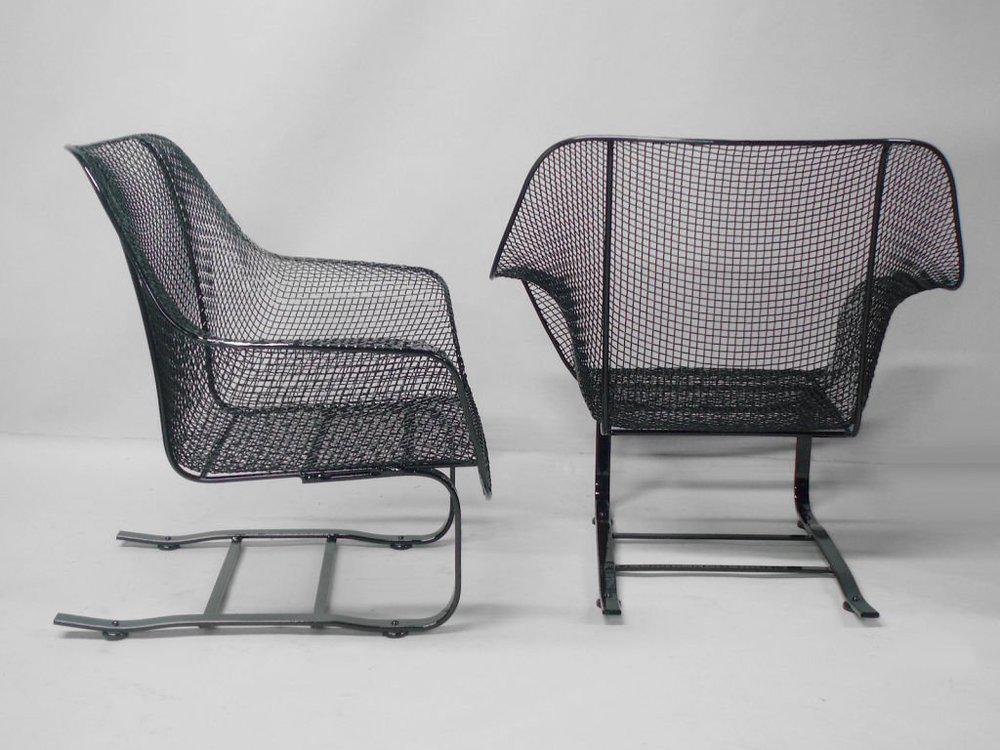 Genial Pair Of Russell Woodard Steel Mesh Spring Base Lounge Chairs   Image 2 Of 3