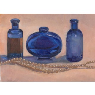 Realist Painting, Three Blue Bottles For Sale