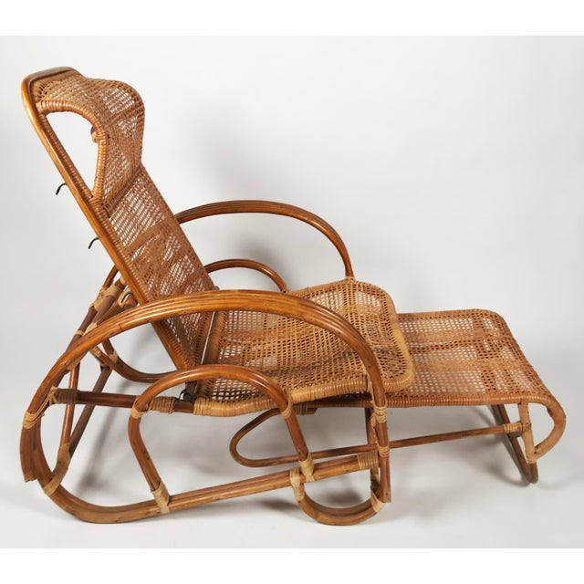 Mid 20th Century Rattan Reclining Lounge Chair W/ Ottoman For Sale - Image 5 of 10