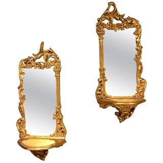 Pair of Italian Diminutive Giltwood Mirror Back Wall Shelves For Sale