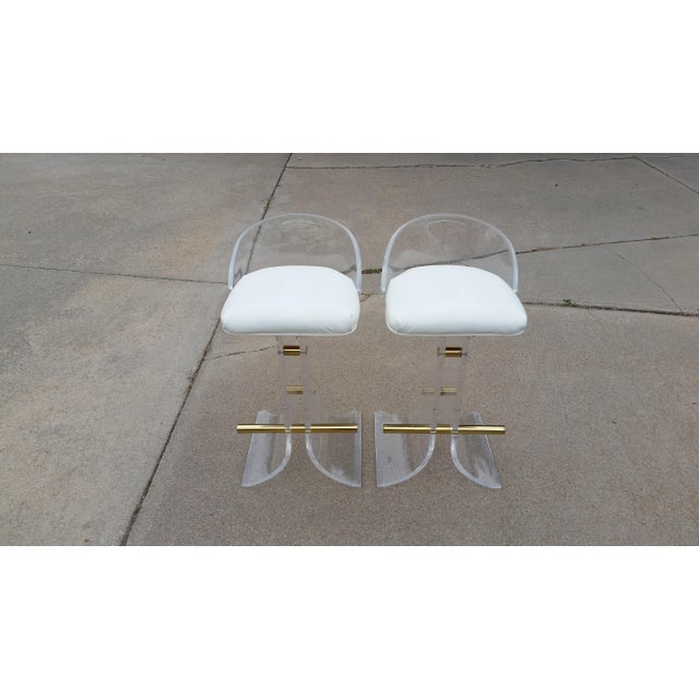 Contemporary Vintage Charles Hollis Jones Style Lucite Stools - a Pair For Sale - Image 3 of 11
