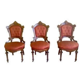 Victorian Red and Orange Upholstered Slipper Chairs (Three) For Sale