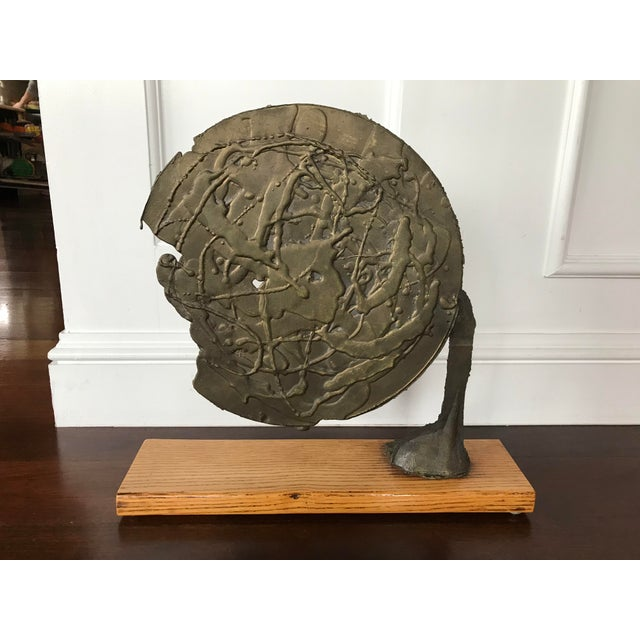 Mid-Century Modern Vintage Mid Century Modern Bronze Metal and Wood Abstract Sculpture For Sale - Image 3 of 12