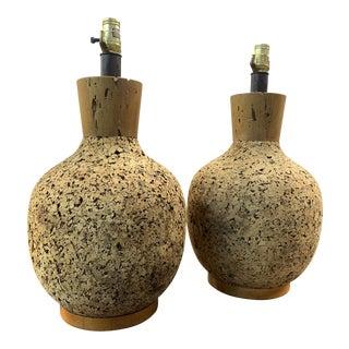 Mid Century Vintage Cork Lamps- a Pair For Sale