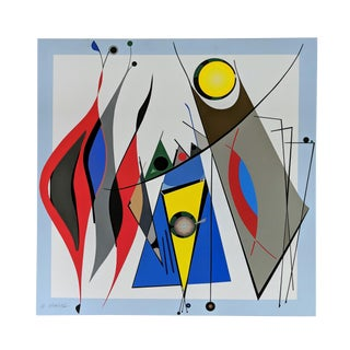 """Atsuko Okamoto Abstract Serigraph A. P. """"Harmony 2 """" Signed on Canvas For Sale"""