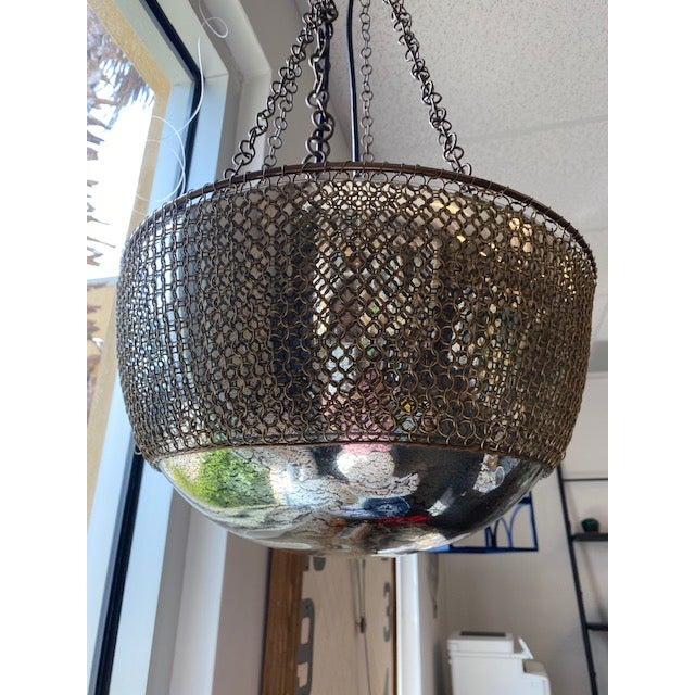 Arteriors Chainmail Mercury Glass Pendant Light Fixture By Laura Kirar Chairish