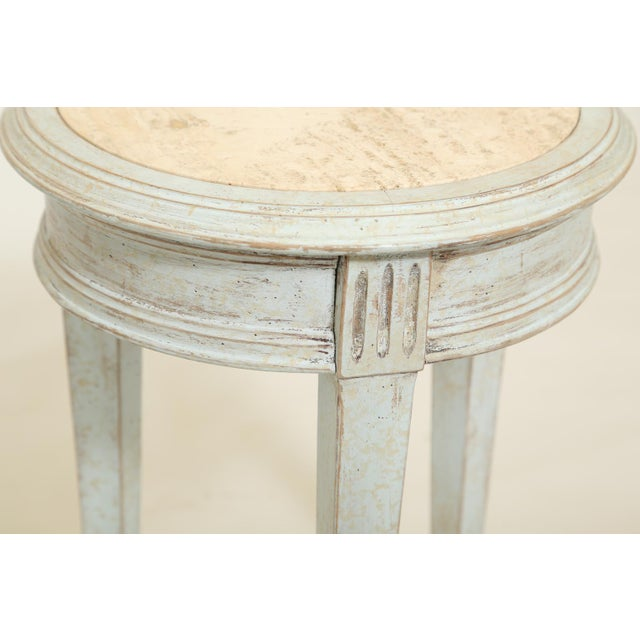 Accent Table With Travertine Insert For Sale - Image 4 of 8