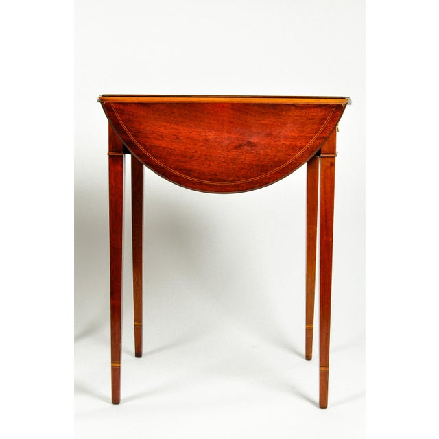 Copper Antique Cherry and Satinwood Banded Pembroke Side Tables - a Pair For Sale - Image 8 of 13