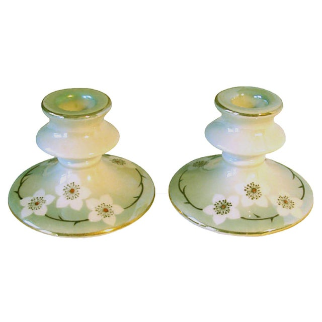 Japanese 1920s Lustreware Candlesticks, Pair For Sale - Image 3 of 3