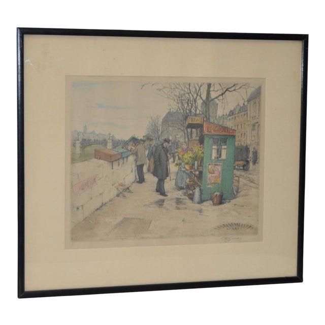 Czech Artist t.f. Simon Color Lithograph C.1920 For Sale