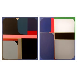 Brooks Burns Original Abstract Geometric Paintings - A Pair For Sale