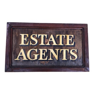 Antique English Estate Agents Sign