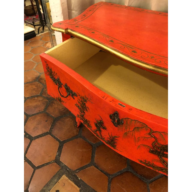1940s Coral and Gilt Chinoiserie Bombe Style Chest of Drawers For Sale - Image 10 of 13