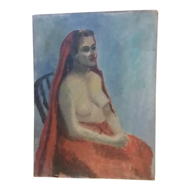 Nude Oil on Board Painting, 1940s - Image 1 of 8