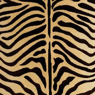 Schumacher Ze'bre Epingle Fabric in Brown/Beige For Sale