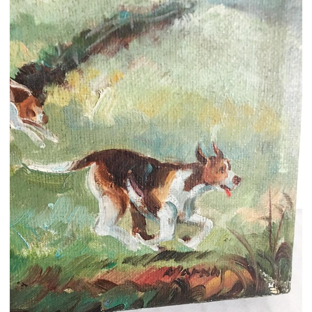 Equestrian Steeplechase with Hunting Hounds Petite Oil Painting - Image 2 of 9
