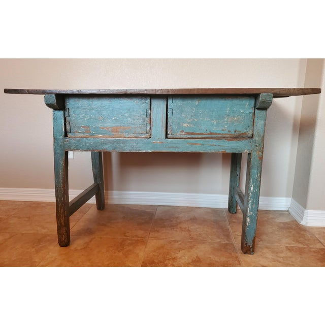 Wood Rustic 19th Centuy Spanish Distressed Painted Table For Sale - Image 7 of 13