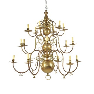 Large Baroque Style Brass Chandelier For Sale