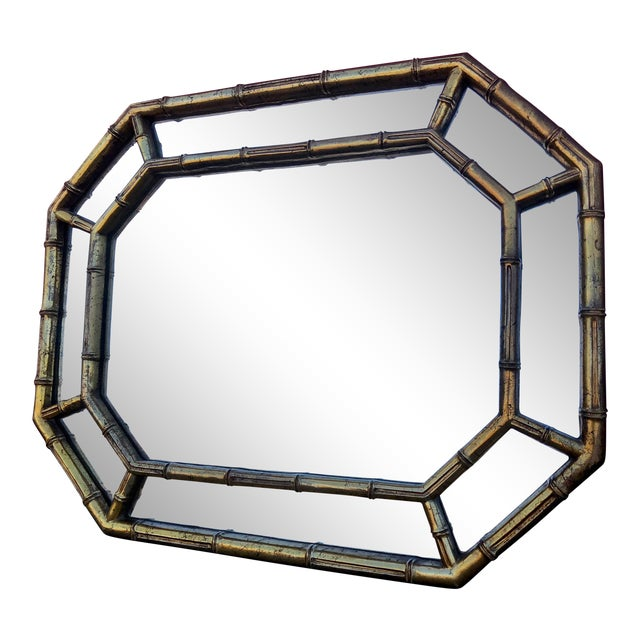 Hollywood Regency Gold Gilt Faux Bamboo Horizontal Vertical Wall Mirror For Sale