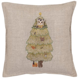 Contemporary Linen Christmas Tree Owl Pocket Pillow For Sale