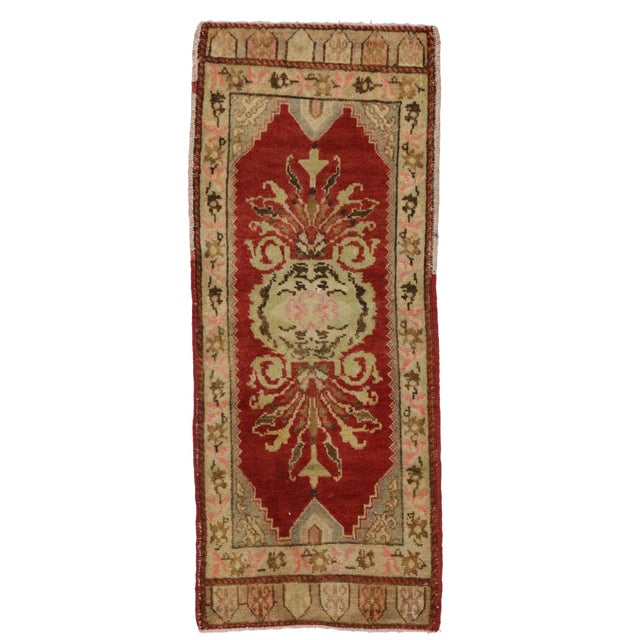 Vintage, hand-knotted wool Turkish Yastik rug with a multicolor design. Nice abrash (Color tone variations). Not perfectly...