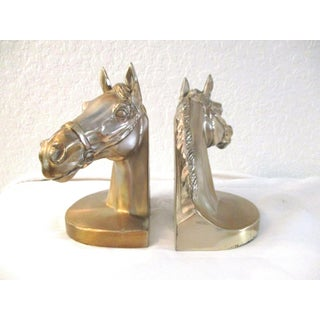 Mid-Century Horse Head Brushed Gold Metal Bookends - a Pair Preview