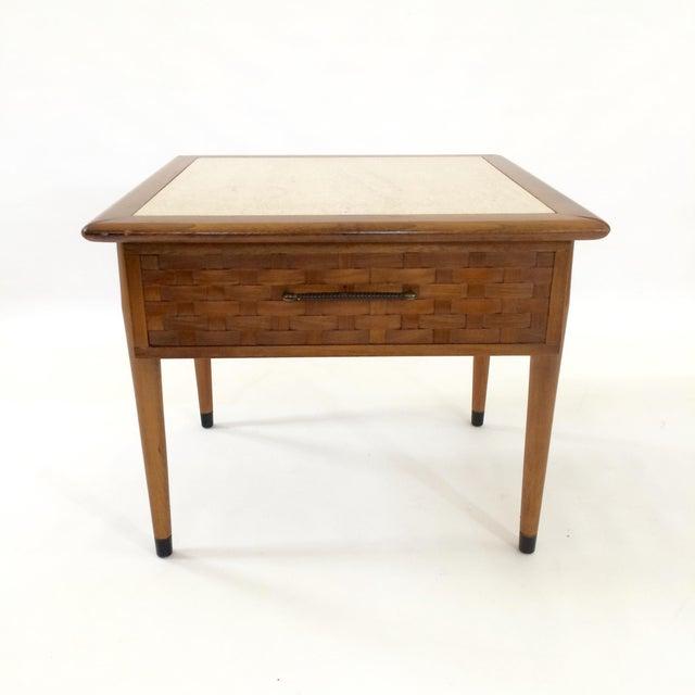 Mid-Century Modern Travertine Side Table - Image 2 of 6