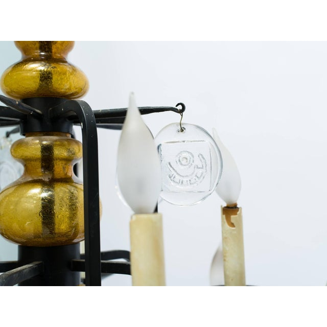 Black Erik Hoglund Art Glass Chandelier For Sale - Image 8 of 11