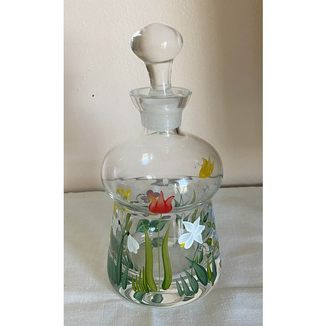 Vintage Hand Painted Crystal Perfume Bottle With Stopper For Sale In Washington DC - Image 6 of 6
