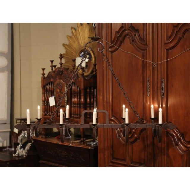Late 19th Century Early 20th Century French Forged Iron Ten-Light Chandelier For Sale - Image 5 of 11