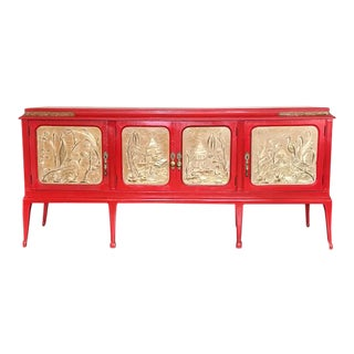 Red Credenza With Carved Doors For Sale