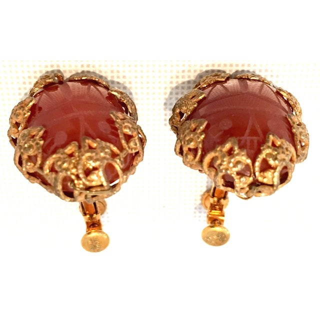 Mid 20th Century Mid-Century Mirian Haskell Russian Gold Carved Glass Scarab Earrings-Signed For Sale - Image 5 of 9