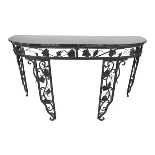 Vintage Iron Demilune Console Table with Marble Top For Sale