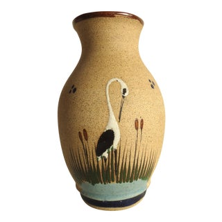 Vintage Brown Crane Vase