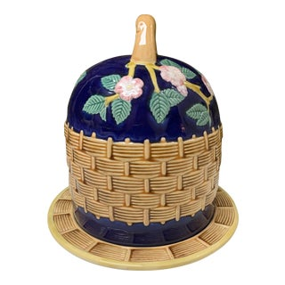 Vintage Majolica Basketweave Dome Shape Cheese Dish With Tray For Sale