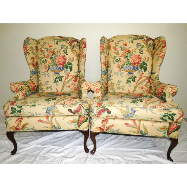 Queen Anne Style Floral Upholstered Wing-Backed Chairs - a Pair For Sale - Image 13 of 13